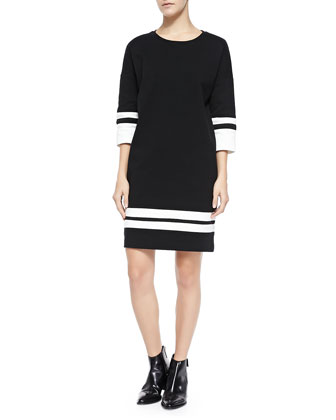 Stripe-Trim Knit Dress, Off White/Black