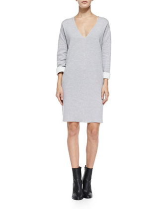 Double-Face-Knit V-Neck Dress
