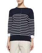 Double-Face Striped Knit Sweater, Coastal/Off White