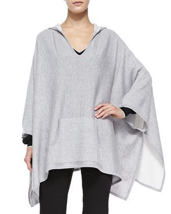 Double-Face-Knit Hooded Poncho