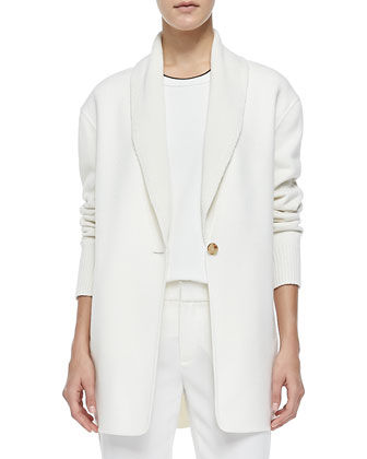 Shawl-Collar Knit Blazer Cardigan, Winter White