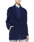 Shawl-Collar Knit Blazer Cardigan, Blue Marine