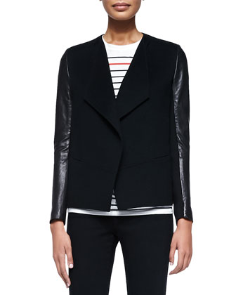 Leather-Sleeve Draped Wool Jacket, Black