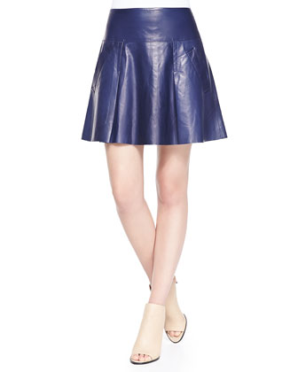 Drop-Yoke Pleated Leather Skirt