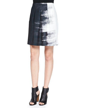 Mixed-Fabric Layered Blouse & Brushstroke-Print Pleated Skirt