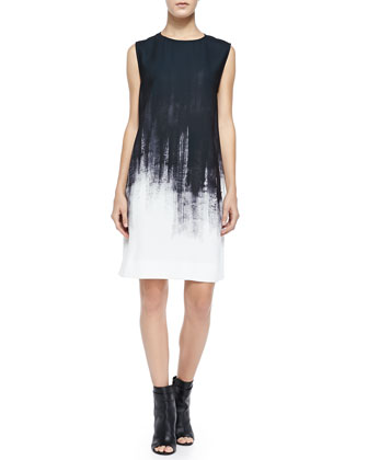 Sleeveless Brushstroke Shift Dress