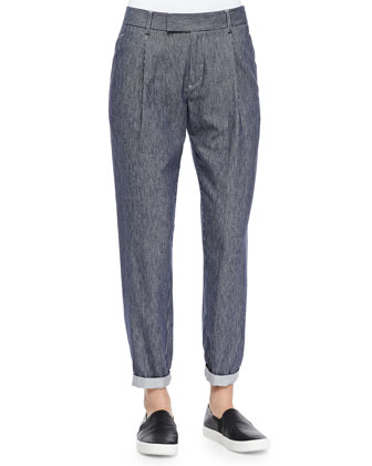 Contrast-Trim Silk Blouse & Railroad-Stripe Tapered Cotton Trousers