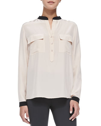 Contrast-Trim Silk Blouse, New Buff/Black