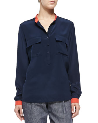Contrast-Trim Silk Blouse