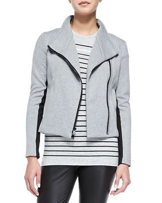 Contrast-Trim Knit Scuba Jacket, Dusk/Black