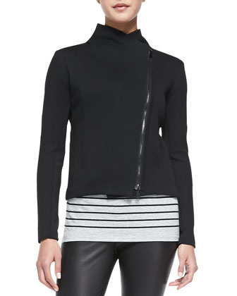 Asymmetric Scuba Jacket, Breton-Stripe Boy Tee & Smooth Leather Leggings