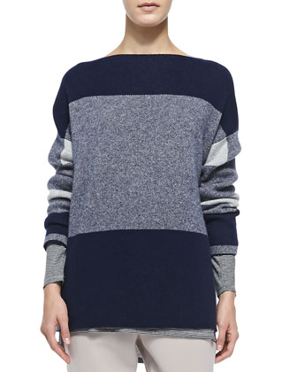 Mixed-Pattern Knit Sweater, Mixed-Stripe Slub Tee & Pull-On Drawstring ...