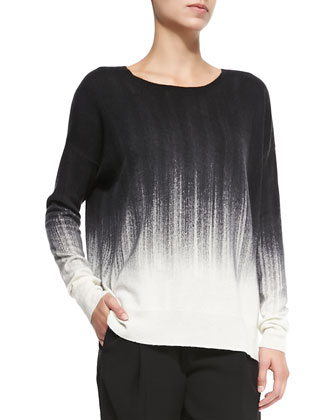 Painted Ombre Knit Sweater, White/Black
