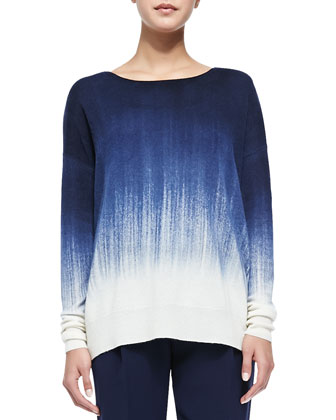 Painted Ombre Knit Sweater, Off White/Blue Marine
