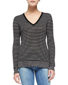Contrast-Trim Striped Knit Tee, Black/Steel