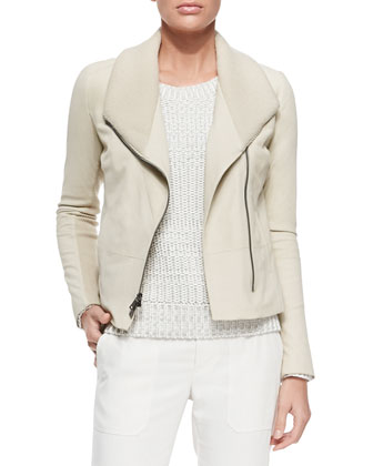 Ribbed/Leather Fitted Jacket, Off White