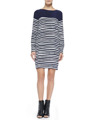 Long-Sleeve Marker Stripe Dress