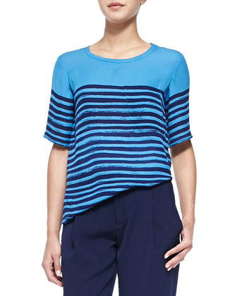 Short-Sleeve Tee W/ Marker Stripes & Satin-Striped Tuxedo Trousers