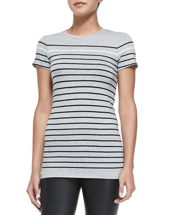 Contrast-Trim Knit Scuba Jacket, Breton-Stripe Boy Tee & Smooth Leather ...