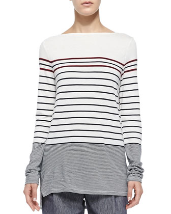 Mixed-Stripe Boat-Neck Tee