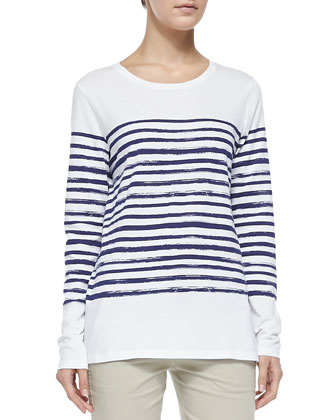 Long-Sleeve Tee W/ Marker Stripes, White/Blue Marine