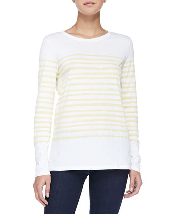 Long-Sleeve Tee W/ Marker Stripes, White/Marigold