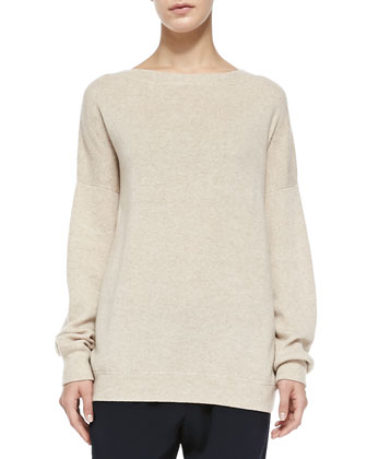 Cashmere Rib-Trim Loose Sweater