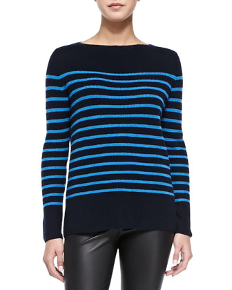 Cashmere Ribbed Striped Sweater & Smooth Leather Leggings