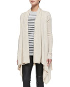 Draped Open-Front Cardigan, Heather Khaki