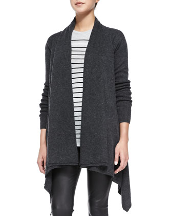 Draped Open-Front Cardigan, Breton-Stripe Boy Tee & Smooth Leather Leggings