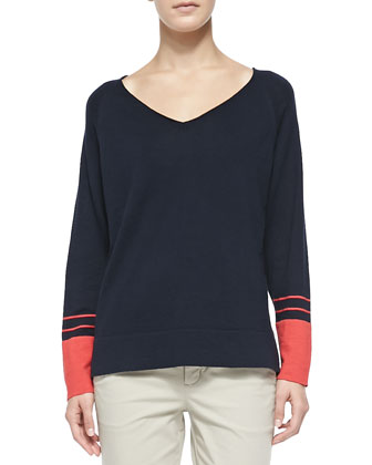 V-Neck Tee W/ Striped Cuffs, Coastal Blue/Tomato