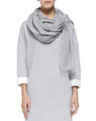 Double-Face-Knit V-Neck Dress & Fringe-Trim Voile Scarf