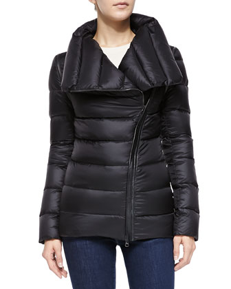 Qeren Leather-Trim Zip-Off Convertible Puffer Jacket/Vest