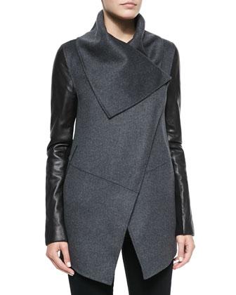 Vane Leather-Sleeve Jacket