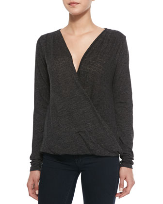 Soft Knit Crossover Top, Black