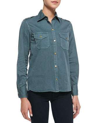 Twill Button-Front Blouse, Evergreen