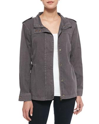 Smocked-Waist Utilitarian Jacket, Smoke