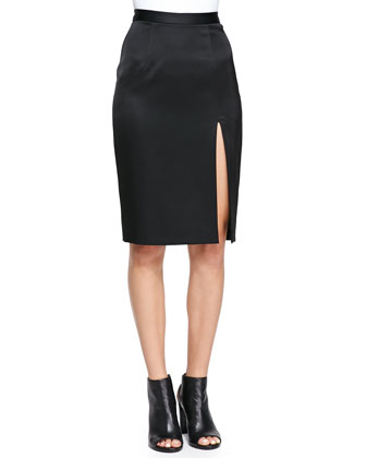 Jersey Front-Slit Skirt, Black