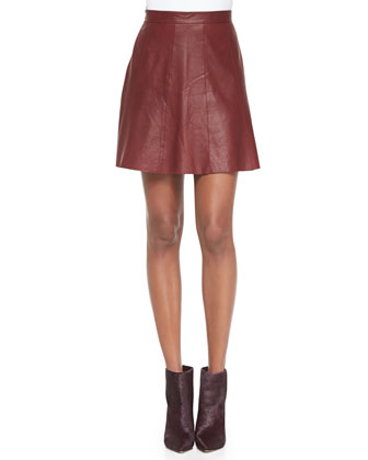Avani Paneled Leather Skirt, Oxblood