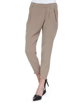 Leather-Trim Wrap-Waist Pants, Driftwood