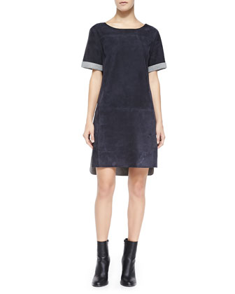 Suede Kimono-Sleeve Shift Dress