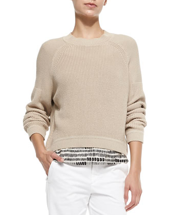 Mixed-Ribbed-Knit Pullover Sweater, Tribal-Dot Silk Top & Twill Boyfriend ...