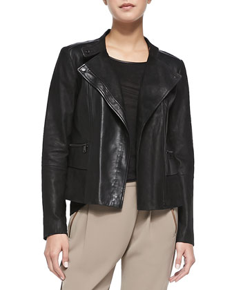 Shiny/Matte Asymmetric Moto Jacket, Piped Relaxed Linen Tee & Leather-Trim ...