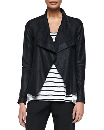 Drape-Front Leather Jacket, Mixed-Stripe Linen Tank & Twill Cuffed Relaxed ...