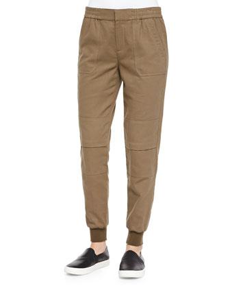 Knit-Cuff Cargo Jogging Pants, Bay Leaf