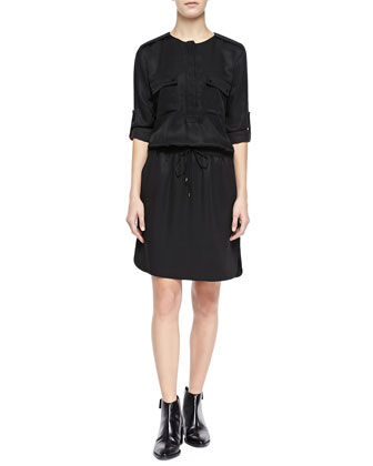 Rolled-Sleeve Cargo Dress, Black