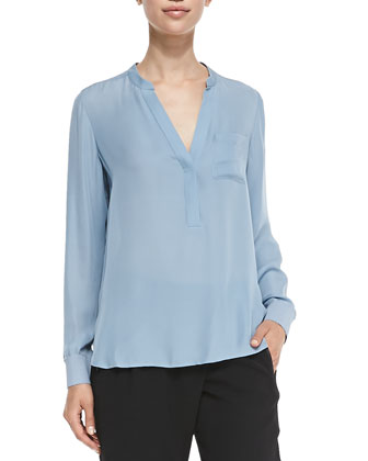 Half-Placket Silk Blouse, Slate Blue