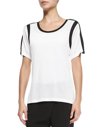Contrast-Trim Slub Top, Bone/Black