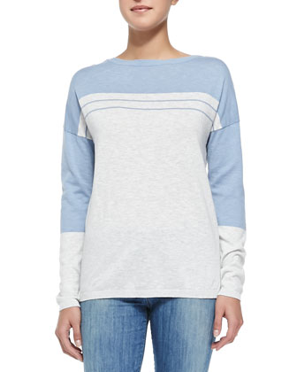 Two-Tone Cotton Slub Top, Slate Blue