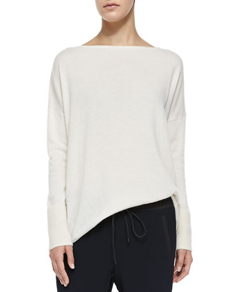 Ottoman Ribbed-Cuff Knit Sweater, Off White